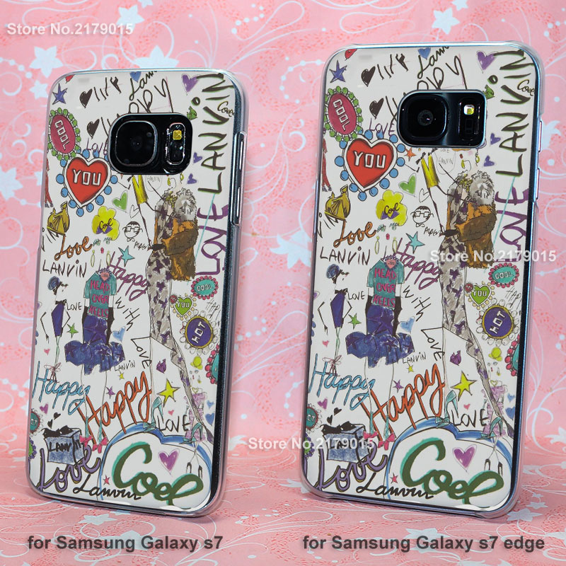 (1pcs)Top Printed Quality lanvins Graffiti cute transparent clear hard Cover Case for Samsung Galaxy s3 s4 s5 mini s6 s7 edge(China (Mainland))