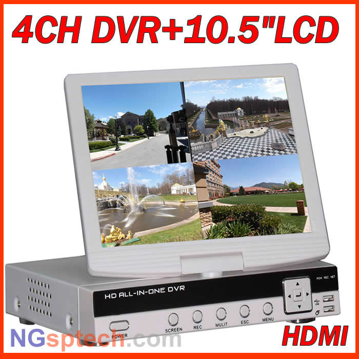 """D1 4 ch HDMI cctv realtime DVR with 10.5"""" Lcd monitor, Support iPhone,blackberry, Windows Mobile, Android, Symbian(China (Mainland))"""