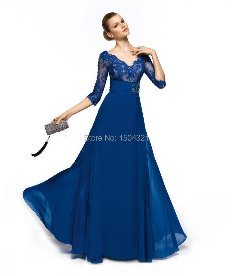 Vestido De Festa 2015 New Arrival Blue Appliques Three Quarter sleeve Long Evening Dresses Fashion Formal Dresses prom Gowns(China (Mainland))
