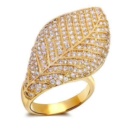 Mansaku Leaf Designed Women Deluxe Ring AAA Quality Cubic Zirconia Pave Setting Bridal Party Fashion Jewelry Lead Free Brass(China (Mainland))