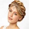 Women Gold Plated Tassel Chain Headband Indian Boho Beaded Head Piece Wedding Head Hair jewelry