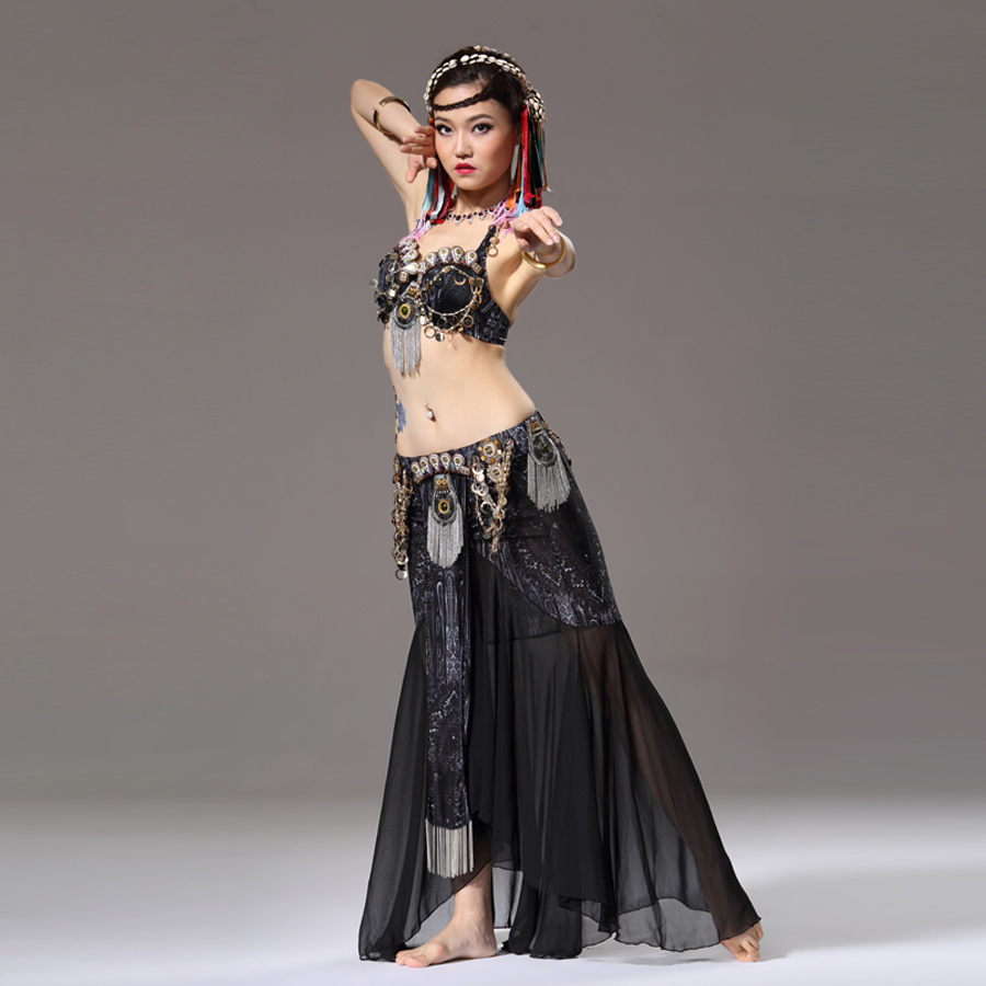 Stage & Dance Wear Tribal Belly Dance 2-piece Outfit Coin Bra Chiffon Belly Dance Skirt with Gold Chain Belly Dance Costume(China (Mainland))