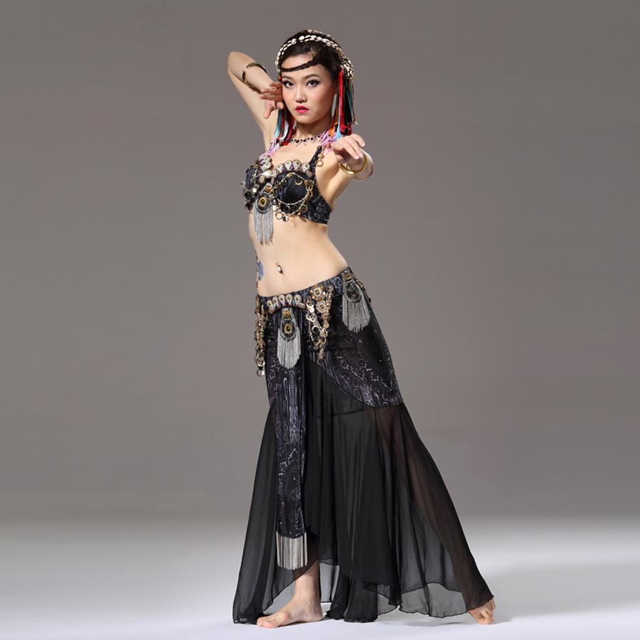 Etapa y desgaste de la danza danza del vientre Tribal pieza Outfit sujetador de la moneda de danza del vientre de gasa con el oro de la cadena del vientre traje de la danza(China (Mainland))