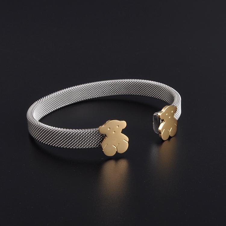 Double Color 316L Stainless Steel Cuff Bracelet Mesh Plain Bear Bangle For Women to.us pulsera oso brazalete marca famosa(China (Mainland))