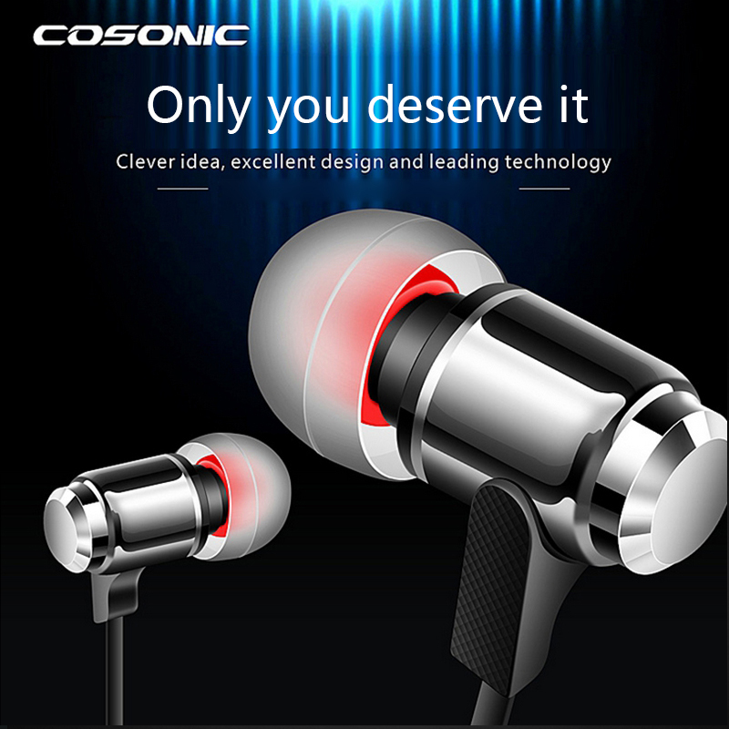 Cosonic W3 Super Bass Stereo Metal Head phones Wired Control + Mic Mobile Phone Earphones Head set Earbuds For Iphone 6 5 Xiaomi(China (Mainland))