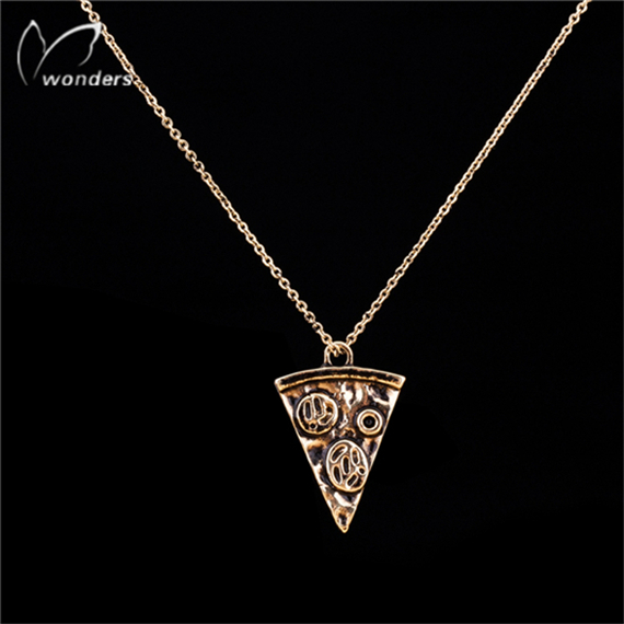Fashion Bridesmaid Gift Gold Tattoo Chain Bijoux Femme Simple Minimalist Pizza Slice Necklace For Women Boho Chic Jewelry(China (Mainland))