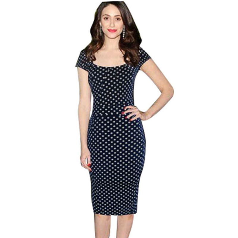 Summer Temperament Slim White Black Polka Dot Dresses Knee-length Sleeved Package Hip S-XL D0091 - Dongguan Amika fashion clothes store