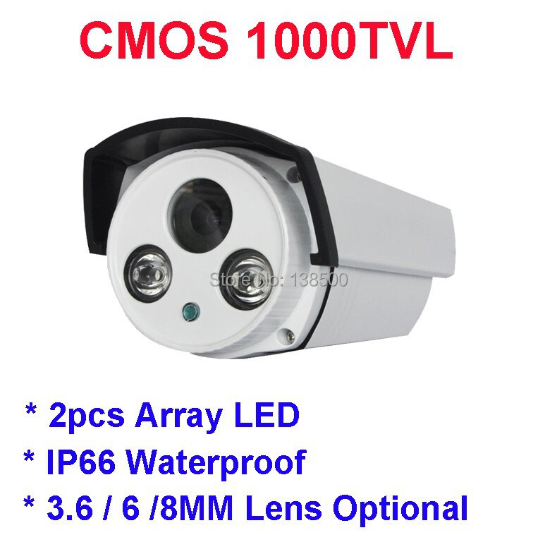 Outdoor Wide Angle Color Security CCTV Camera CMOS 1000TVL 24IR 3.6mm Waterproof 2pcs Array LED