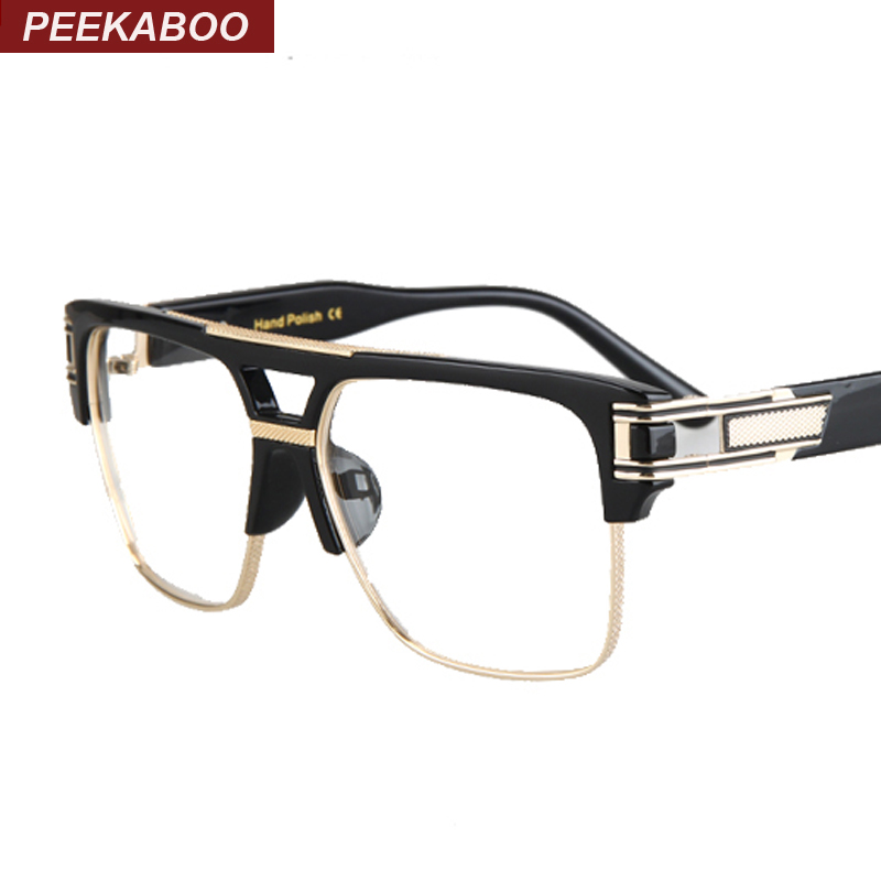 Black And Gold Eyeglass Frames : Half frame eyeglasses frames men square optical gold black ...