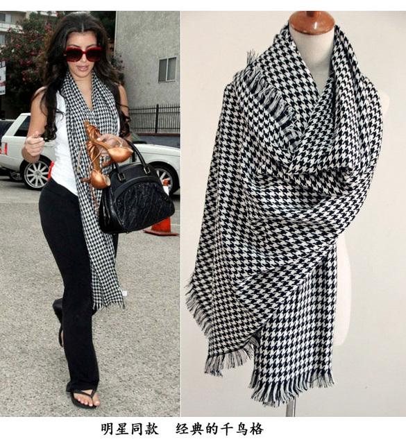 Бесплатная доставка 2016 новый бренд зима женщины хаундстут вспышка необходимые мужчины и womenlong отрезок шерстяной шарф платок любителей