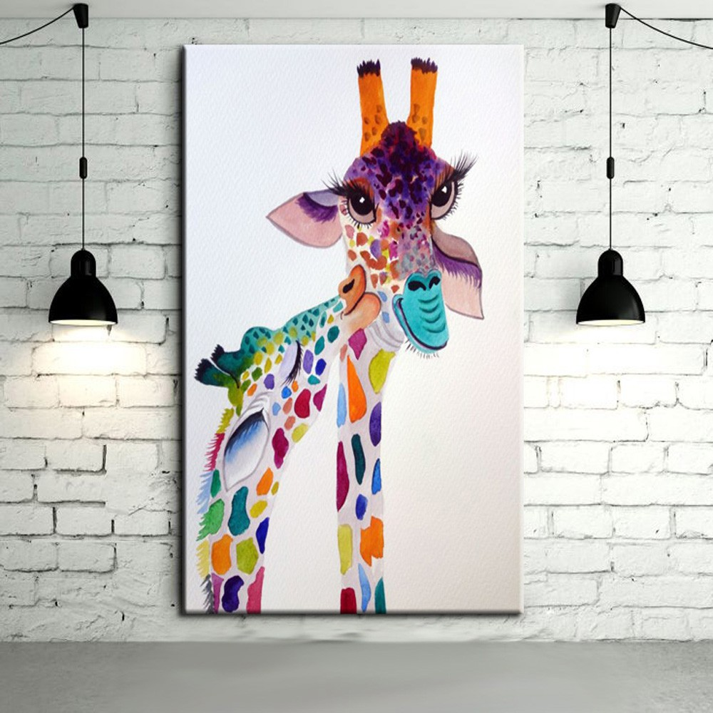 Modern Abstract Art Hang Pictures Handpainted Lovely Baby Giraffe Animal Oil Paintings On Canvas Wall Pictures For Home Decor(China (Mainland))