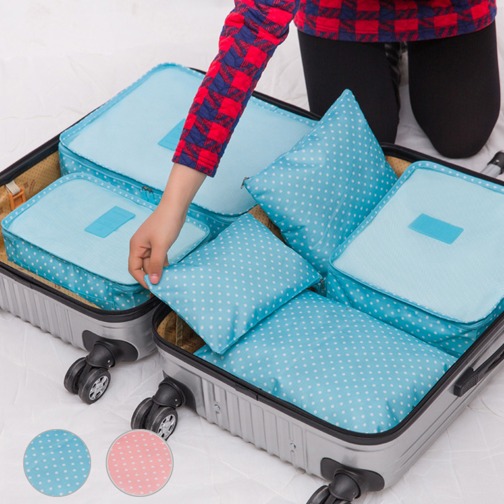 6pcs/set Women Men Travel Polka Dot Storage Bag Luggage Clothes Tidy Storage Pouch Portable Organizer Case free shipping(China (Mainland))