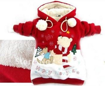 free shipping prom baby children girls Christmas new year wear winter warm coat hoodies outercoat with fleece