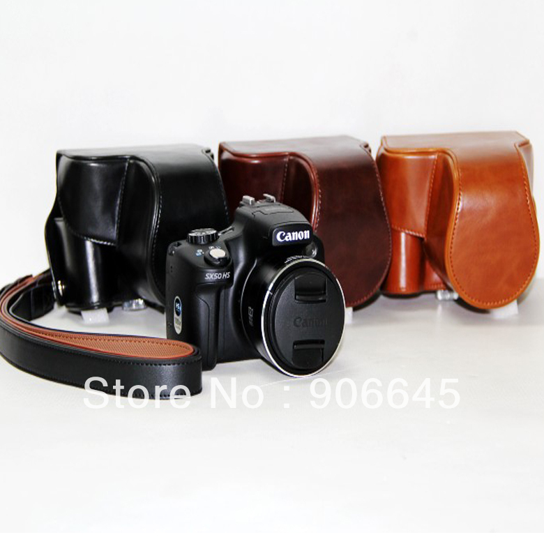 High quality high-grade luxury Leather PU camera case bag pouch for Canon Powershot SX50HS SX50 HS(China (Mainland))