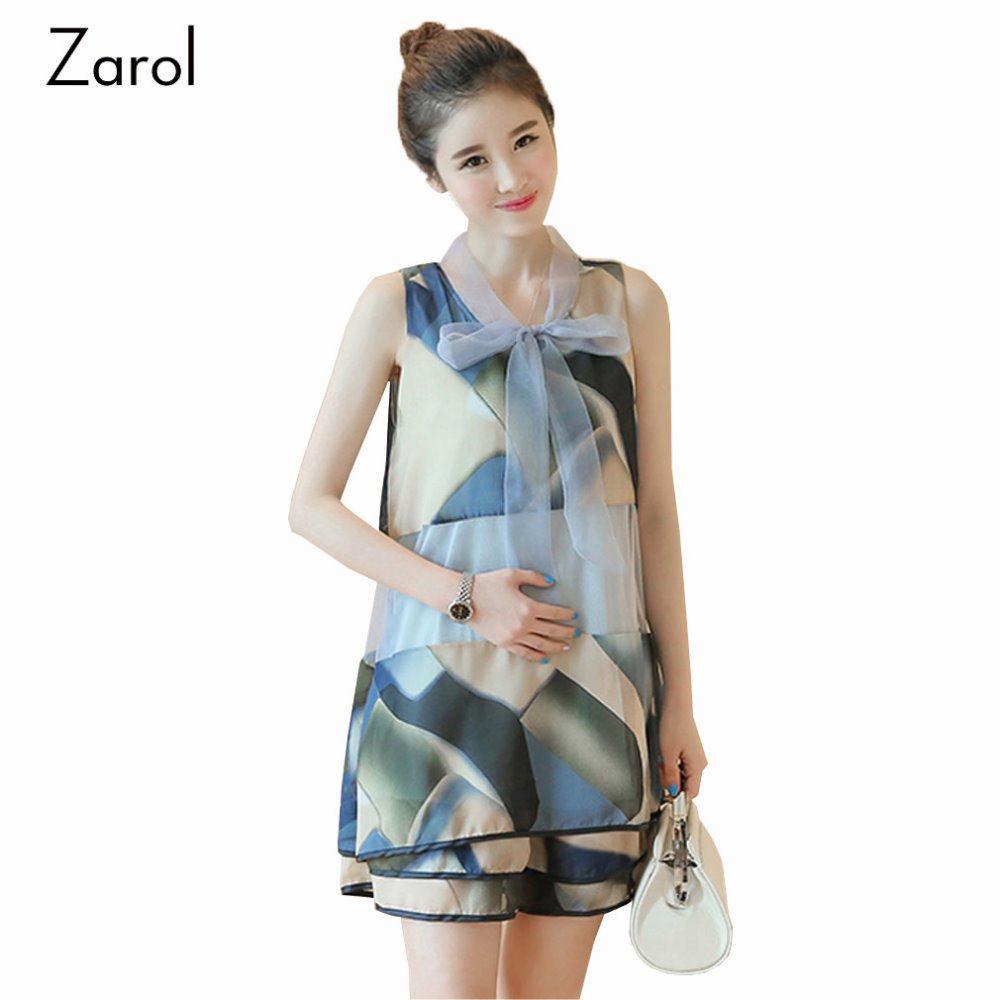 Sleeveless Maternity T Shirt Dresses Summer Organza Fashion Printing Maternity Clothes for Pregnant Women Loose Pregnancy Tops(China (Mainland))