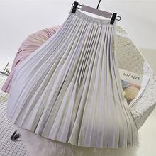2019 deux couches automne hiver femmes daim jupe longue plissée jupes femmes Saias Midi Faldas Vintage femmes Midi jupe(China)