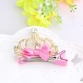 Shine Crown Rhinestone Gross Pink White Bow Girl Hairpin Children Hair Accessories Clip Kids Headwear Crown