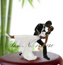 Black Skin Dancing Bride and Groom Couple Figurine Wedding Decoration Cake Topper Cake Stand(China (Mainland))