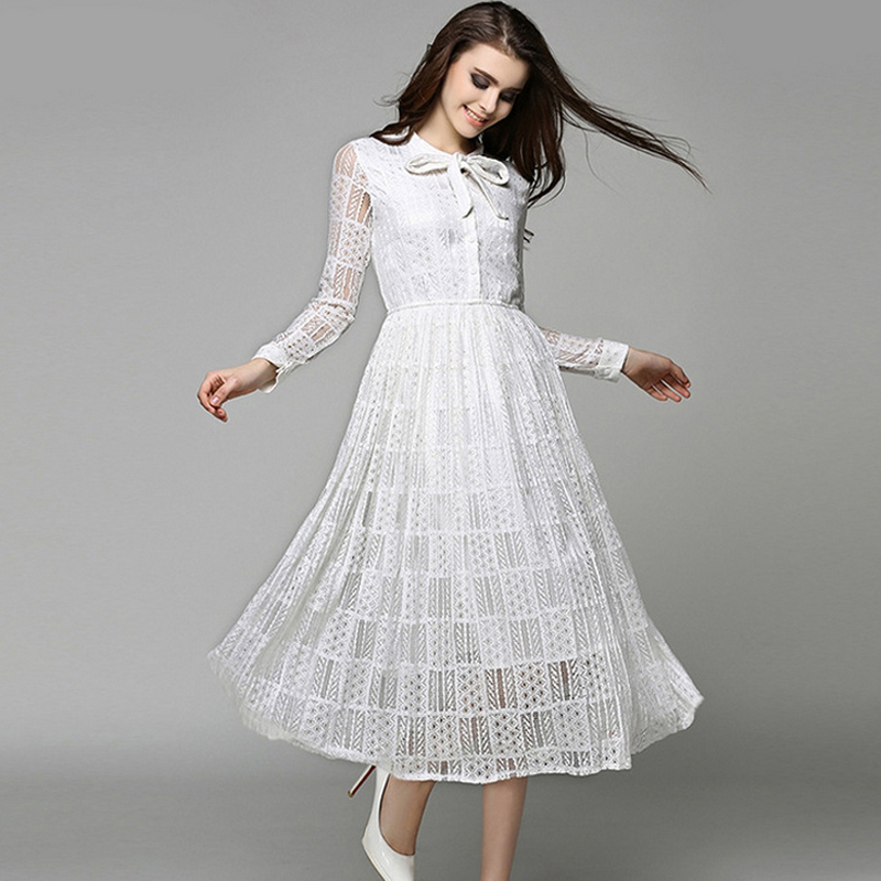 New 2016 Summer Fashion Hollow Out Elegant Lace Elegant Party Dress High Quality Women Long Sleeve Casual Elastic waist Dresses(China (Mainland))