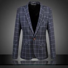 2015 Latest Luxury Mens Business Slim Fit Plaid Blazer Jacket England Gentle Quality Classic Original Suits Coat Free Shipping