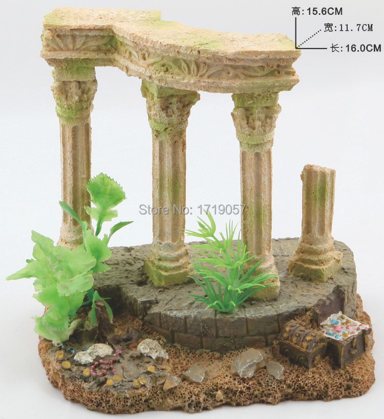Aquarium decorations rome column resin acuario artificial for How to decorate a fish tank with household items