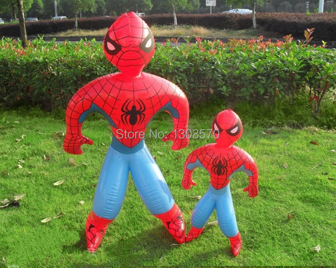 Huge Superman Spider Man PVC Inflatable toys for boys games Kids birthday gifts / Height 90cm Child Cartoon Classic toys(China (Mainland))