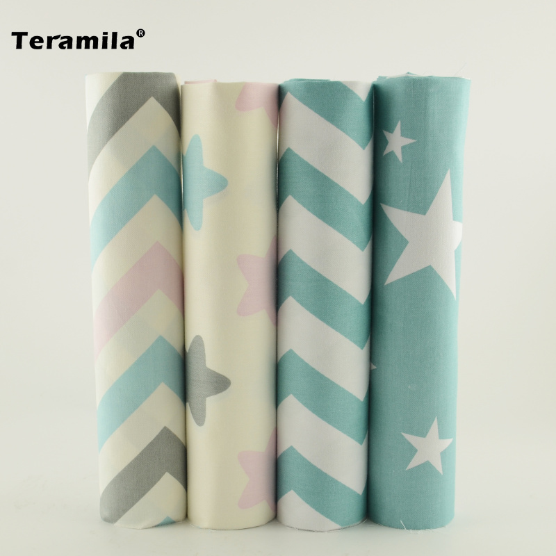 New Arrivals 4pcs/lot 40cm*50cm Stars and Wave Printed Cotton Fabric Tissue Quilting Meter To Patchwork Other Sewing Project(China (Mainland))