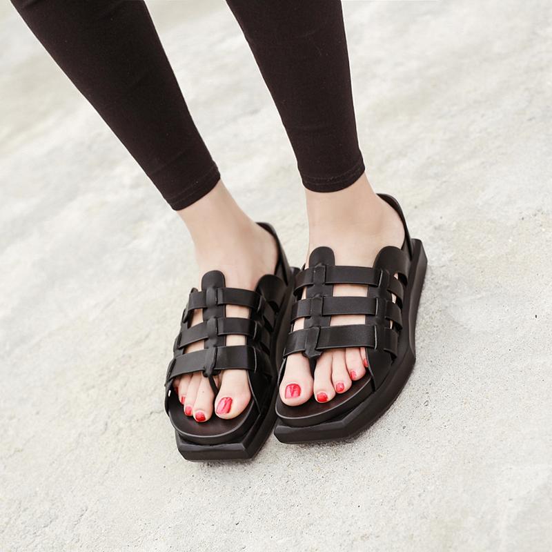 Ladies Sandals Fashion Designer Flip Flops Roman Style T-Strap Platform Sandals Black Sandals Slippers Summer Gladiator Sandals(China (Mainland))
