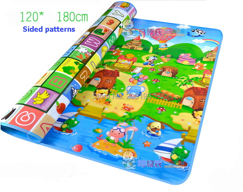 TOP QUALITY Sided patterns 120*180cm Eco-Friendly Pattern with Fruit and Alphabet Waterproof Baby Mat Play Floor and Outdoor(China (Mainland))