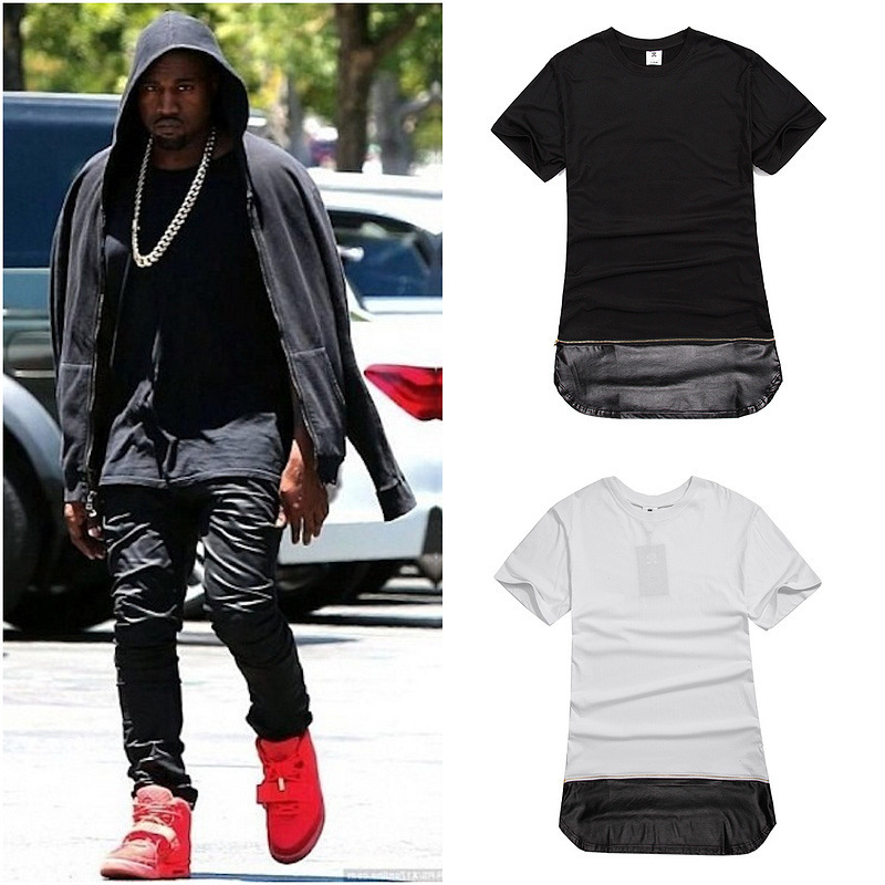 Men New Style Leather Gold Zipper Long Extended Swag T-Shirt Black /White/ Fashion Kanye West Hip Hop Slim T Shirt Tops Tees(China (Mainland))