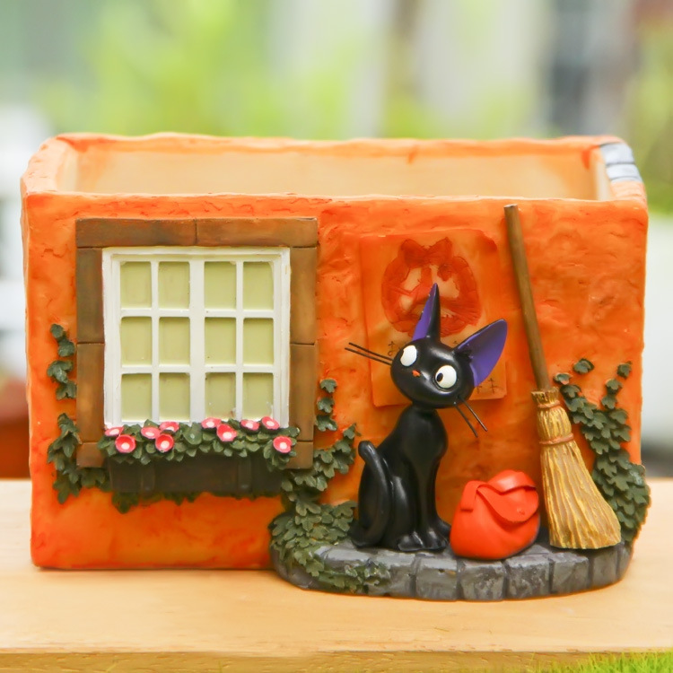 High Quality Miyazaki Kiki's Delivery Service Kiki Cat & Magic Broom & Bag & House Resin Action Figure Toys Collection Model Toy(China (Mainland))