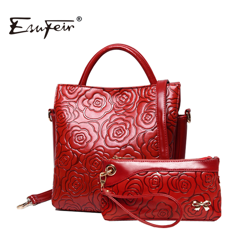 ESFEIR New 2016 Embossed Floral Leather Women Handbag Fashion Shoulder Bag Composite bag Vintage Women Bag Ladies Bag sac a main<br><br>Aliexpress