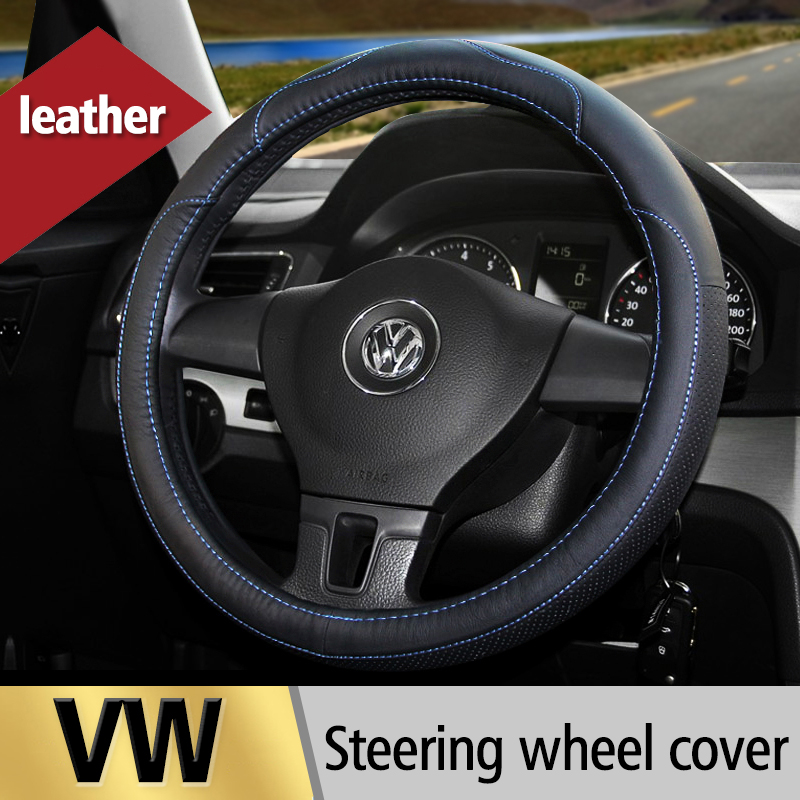 Leather Car Steering Wheel Cover For Volkswagen VW POLO Jetta MK5 MK6 GOLF 4 5 6 Tiguan Passat B5 B6 Touran Bora Car Accessories(China (Mainland))