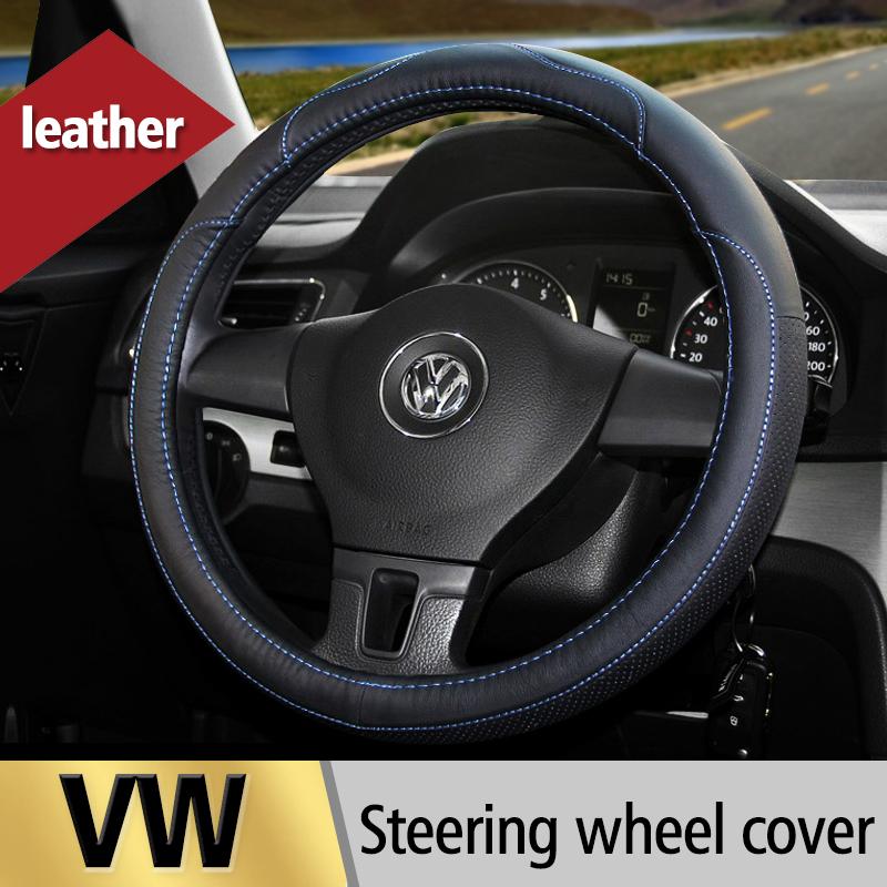 Leather Car Steering Wheel Cover For Volkswagen VW POLO Jetta MK5 MK6 GOLF 4 5 6 Tiguan Passat B5 B6 Touran Bora Car Accessories(China (Mainland))