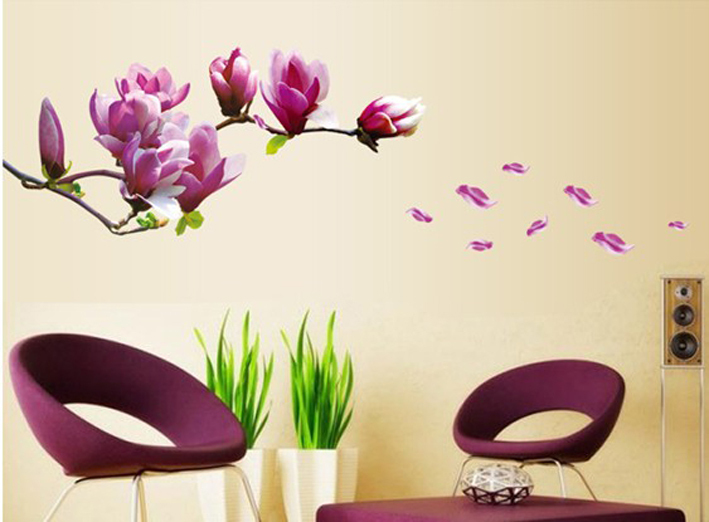 V-co Free shipping Removable Flower Home Art Decor vinyl Wall Stickers magnolia purple Mural home decoration adesivo de parede(China (Mainland))