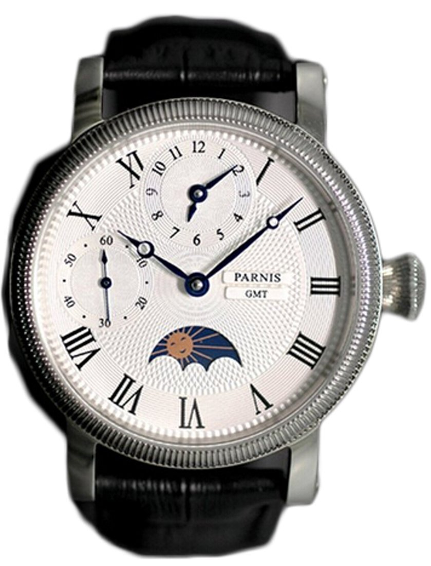 Parnis Men's Hand Wind Mechanical Watch Two Times Moon Phase Seagull Movement St36(China (Mainland))