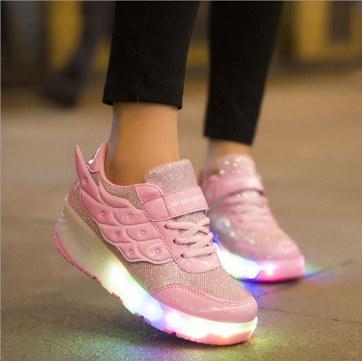 HOT 2016 New Arrived Children Wheely's shoes Girls Boys Wing Led Light Sneakers Shoes With Wheel Kids Roller Skate Shoes(China (Mainland))