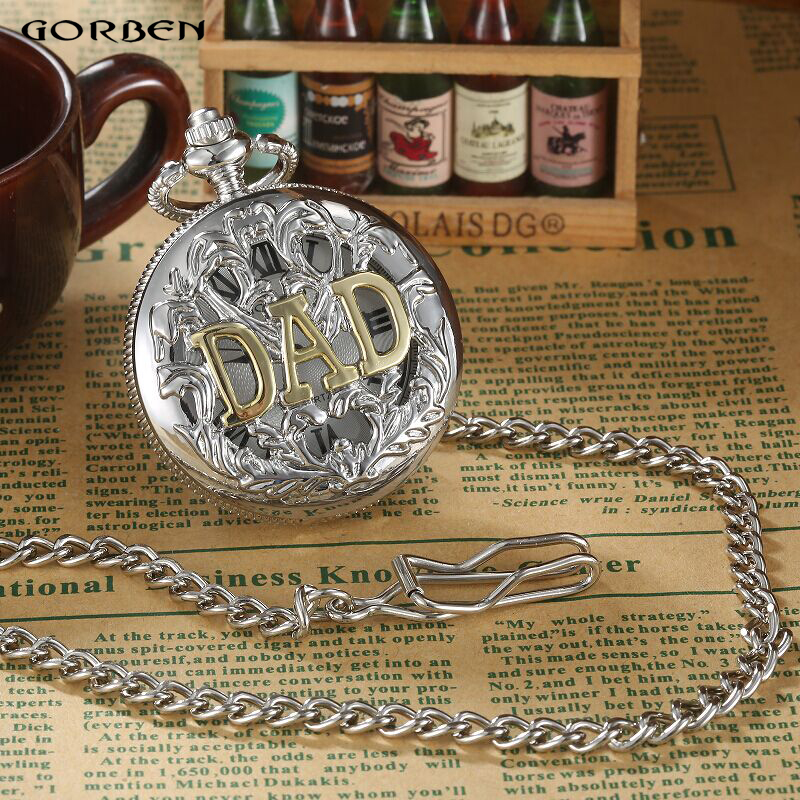 Fashion Japan movt dad pocket watch Silver necklace Chain FOB Pendent Mens Watches Father's Day Gifts Vintage Quartz Watches(China (Mainland))