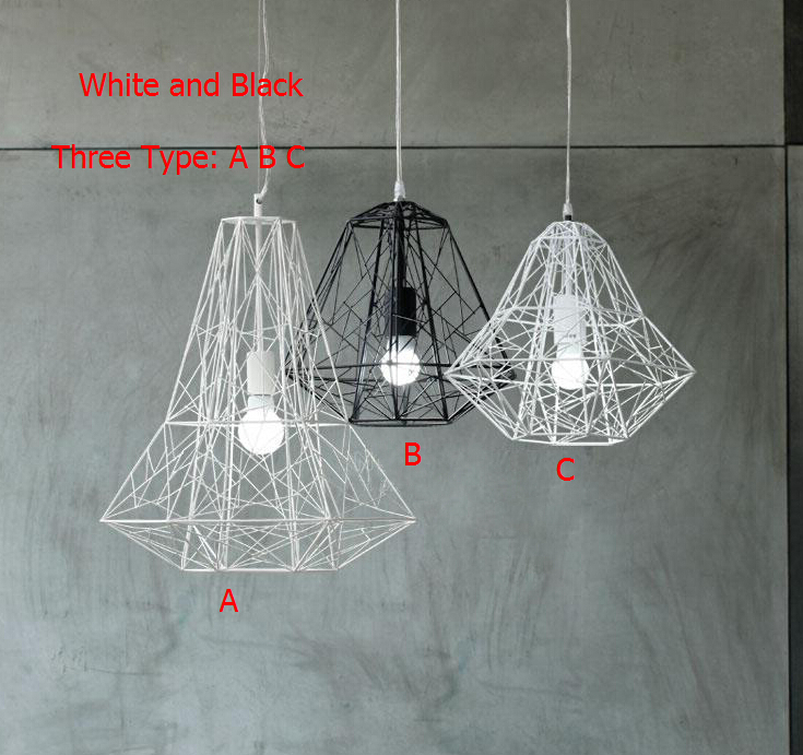 Modern Wrought Iron Bird Cage Pendant Light American Retro Industrial LOFT Bar Lamp Hanging Minimalst Geometric Fixtures110-240V(China (Mainland))
