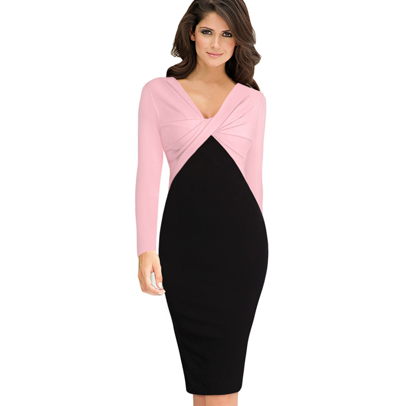 2016 new europe us women elegant colorblock draped ruched twist sexy v neck high waisted party wear to work sheath pencil dress - Color Block Vetement