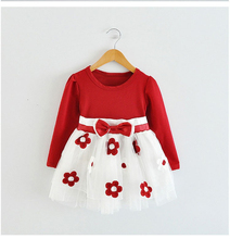 Toddler Girl Clothes New 2016 Autumn Flower Baby Girl Dress Children Kids Infant Clothing Bow Tulle Baby First Birthday Dresses(China (Mainland))