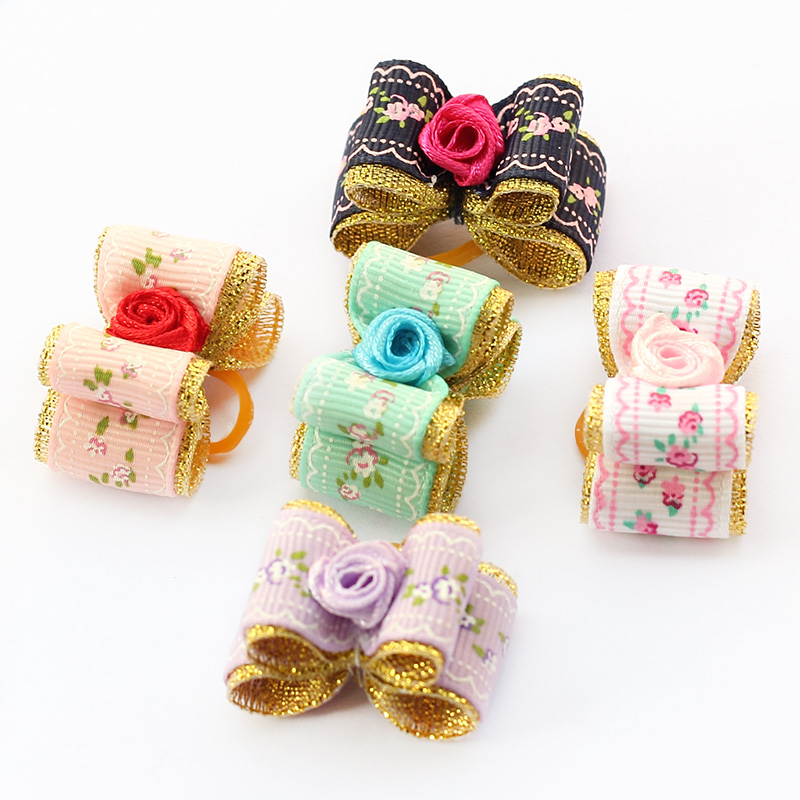 Armi store Handmade Accessories Pet Roses Ribbon Dog Bow 6023007 Dogs Grooming Bows Beauty Jewelry(China (Mainland))