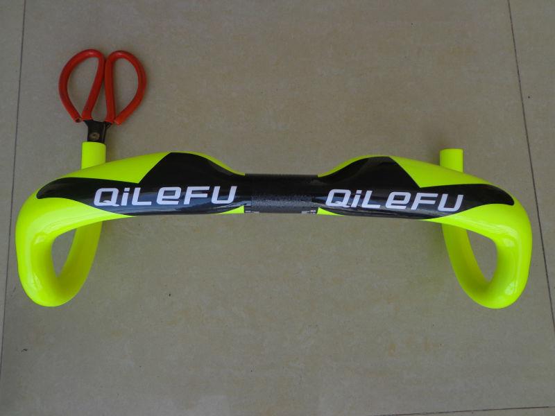 Newest fluorescein yellow QILEFU road bicycle UD 3K full carbon fibre bike handlebar lightest parts 31.8*400/420/440mm Free Ship(China (Mainland))