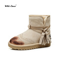 Willa s Dance Brogue Snow Boots Women 2016 Genuine Leather Warm Winter Boots High Quality Tassel
