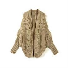Women Cardigan Knitted Long Sleeve Batwing poncho Sweater Cardigans Fashion Girl's Coat Solid Crocheted Sweaters Tops Autumn(China (Mainland))