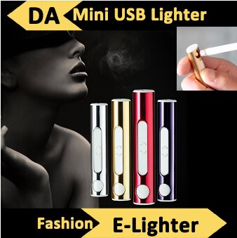 Гаджет  good quality electronic cigarette USB rechargeable cigarette lighter cylinder creative windproof lighter fuel gas thin wholesale None Дом и Сад
