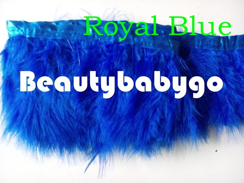 Free shipping 10 meters Royal Blue Marabou Feather Trim Fluffy Height 15-20cm/6-8 inch 12 colors available(China (Mainland))