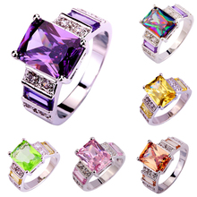 Wholesale Alluring Jewelry Emerald Cut Amethyst & Morganite & Pink Sapphire 925 Silver Ring Size 7 8 9 10 PRECIOUS JEWELRY