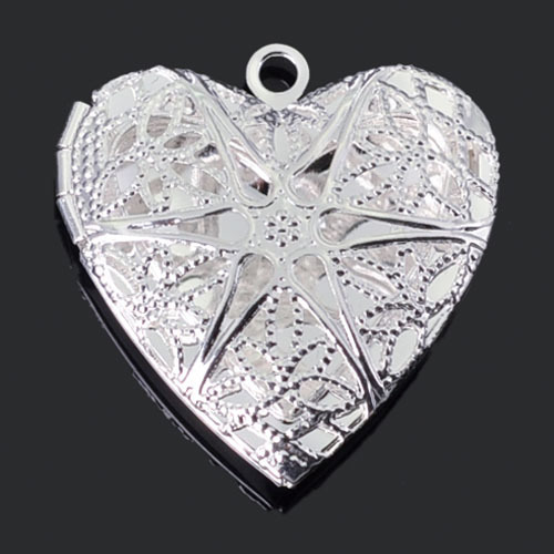 1pc 26*25mm Silver Plated Heart Locket Necklace Photo Locket Pendants Jewelry Finddings(China (Mainland))
