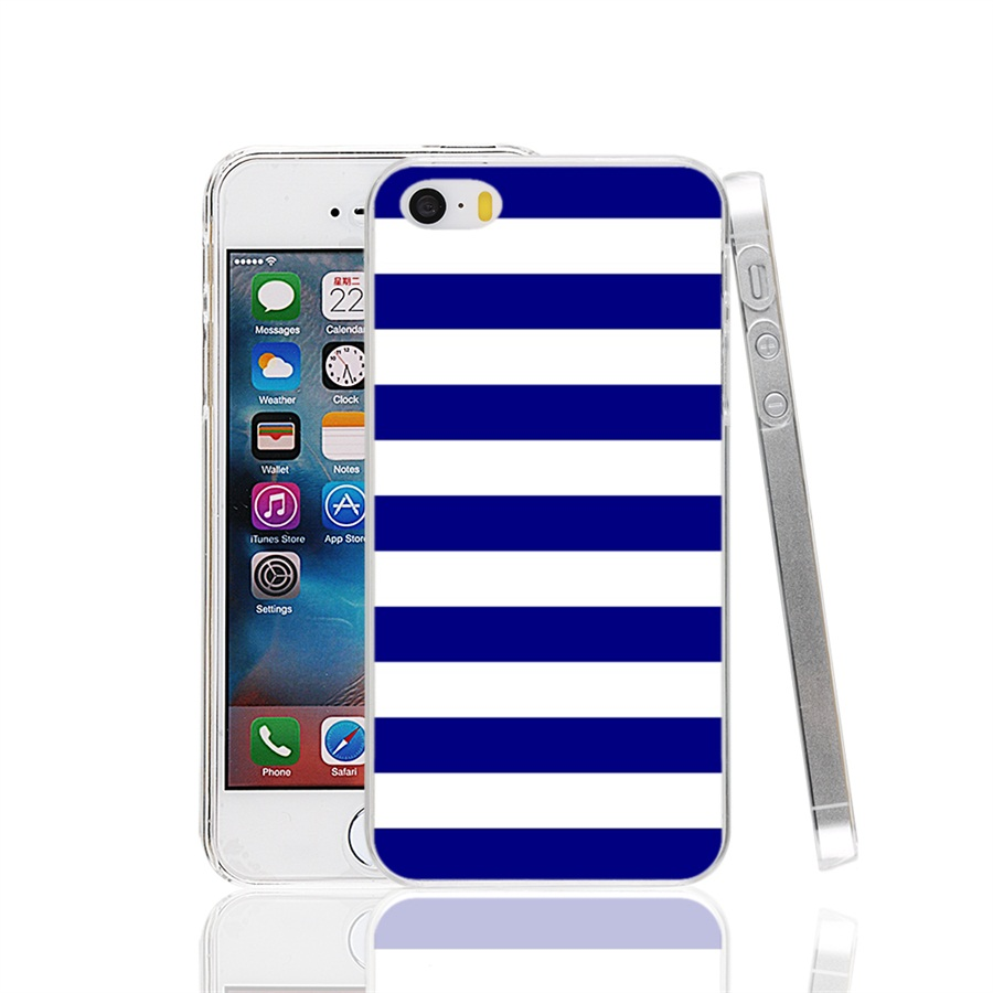 00923 horizontal stripes navy bluewhite Cover cell phone Case for iPhone 4 4S 5 5S SE 5C 6 6S 7 Plus(China (Mainland))